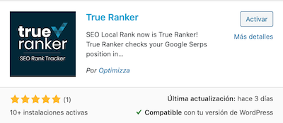 True Ranker wordpress card